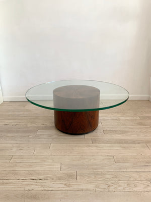 Mid Century Rosewood Drum Coffee Table by Harvey Probber