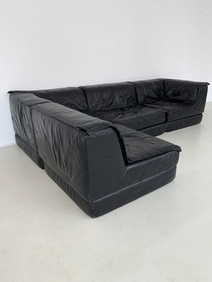 1970s Black Leather Modular Sectional Spaceage Sofa By Hans Hopfer for Roche Bobois
