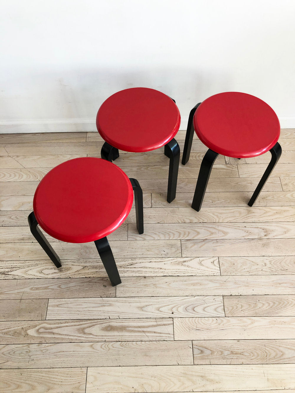 Set of 3 Vintage Red and Black Stacking Stools-Set