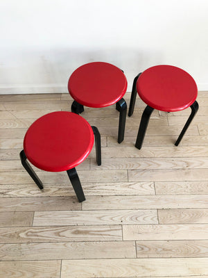 Terrific Set Of 3 Vintage Red And Black Stacking Stools Set Home Ncnpc Chair Design For Home Ncnpcorg