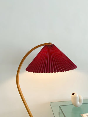1970s Danish Bent Beech Mads Caprani Pleated Shade Floor Lamp