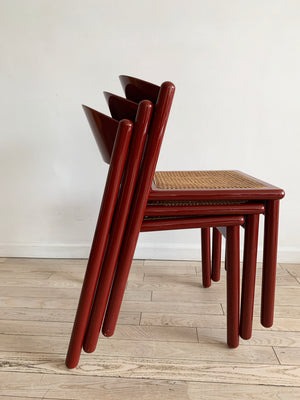 Vintage Red Lacquered Wood Dining Chair with Cane Seat