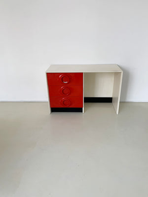 1970s Red Plastic Front Desk