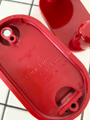 1970s Carlo Bartoli Red Plastic Wall Hook