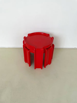 1970s ABS Plastic Red Kartell Stacking Tables
