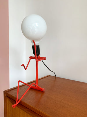 Vintage Red Metal Person Lamp