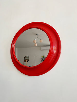 1970s Red Plastic 3D Circle Mirror