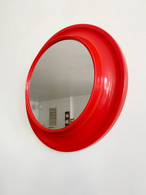 1970s Red Plastic Circle Mirror