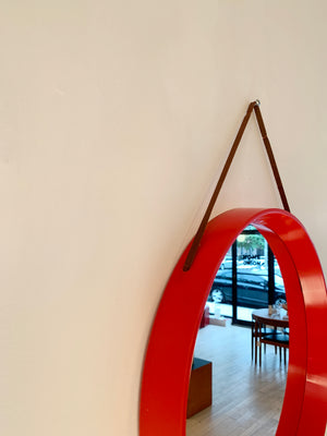 1970s Red plastic Circle Mirror, Denmark