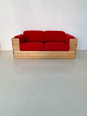 1970s Studio Craft Oak Case Sofa in Red Wool