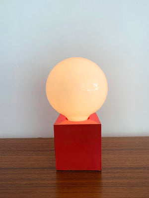 Mid Century Red metal  Square Orb Table Lamp
