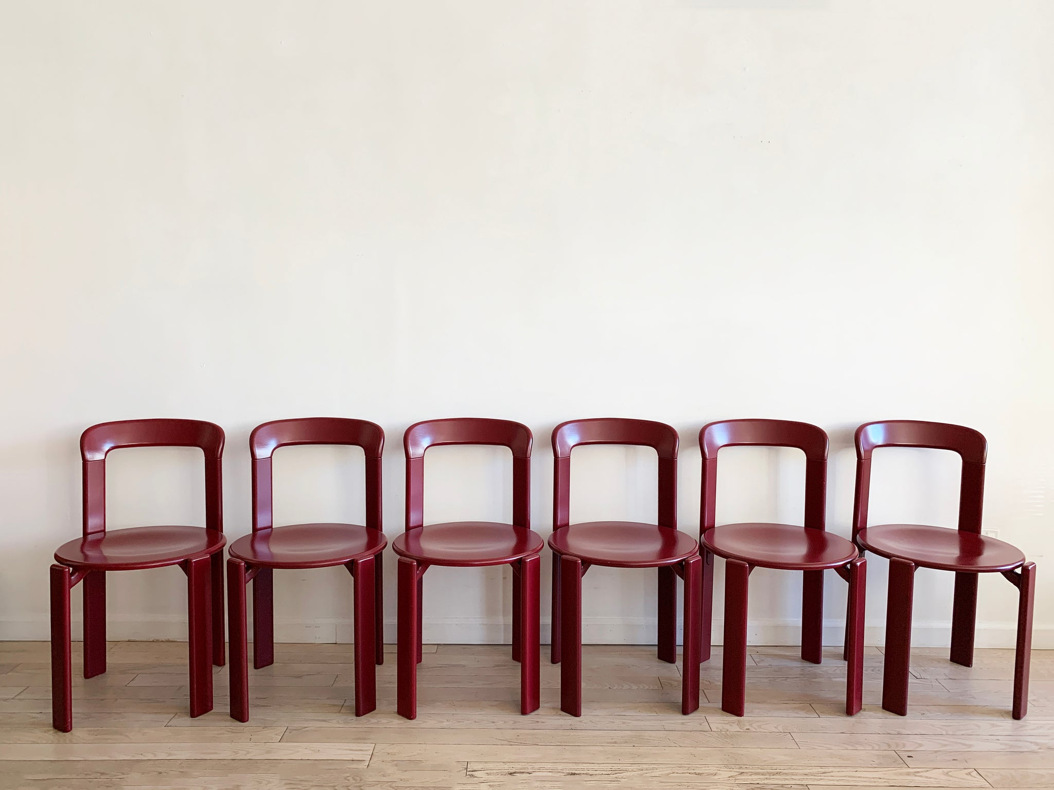 1970s Rey Stacking Chairs in Raspberry Red by Bruno Rey