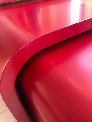 Vintage Set of 3 Waterfall Red Lacquer Nesting Tables