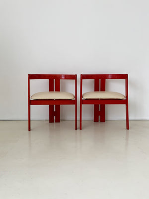 "1950s Italian Tobia Scarpa ""Pigreco"" Red Stained Arm Chair - Each"