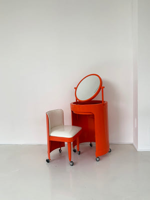 1970s Atomic Orange Plastic Vanity Set