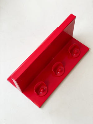 1970s Red ABS PLAStic Kartell Wall Shelf + Hooks
