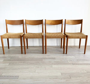 Mid Century Teak Rope Chairs-Set of 4
