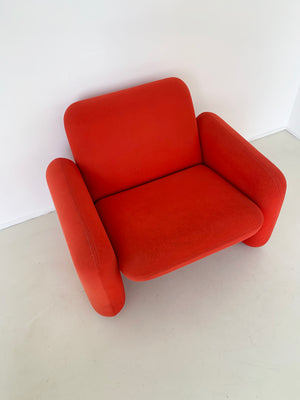 1970s Ray Wilkes Red Chicklet Club Chair for Herman Miller