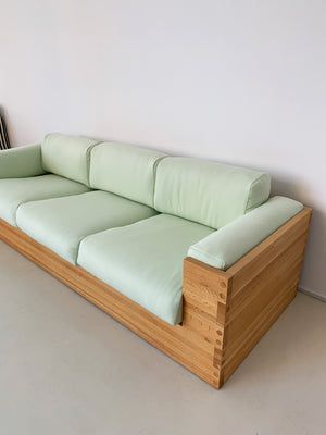 1970s Oak and Sage Green Case Sofa