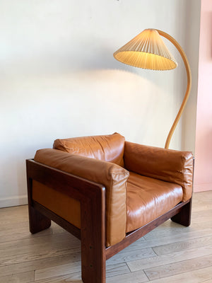"1973 Rosewood and Cognac Leather Tobia Scarpa for Knoll ""Bastiano"" Club Chair"