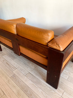 "1973 Rosewood and Cognac Leather Tobia Scarpa for Knoll ""Bastiano"" Sofa"