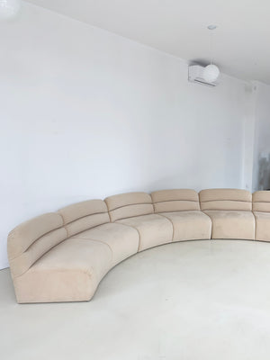 Vintage Ultra Suede Curved Sofa Section