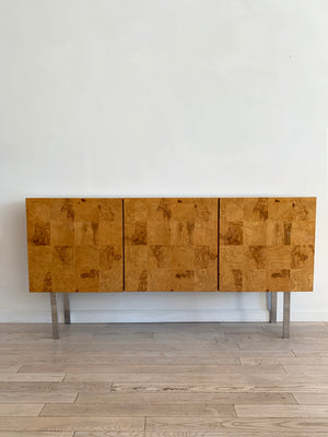 1970s Olive Burl Patchwork Sideboard by Milo Baughman for Thayer Coggin