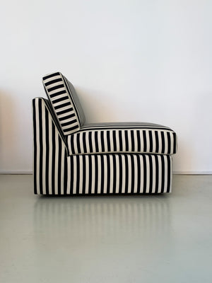 1970s Milo Baughman for Thayer Coggin Striped Lounge Chair- Each