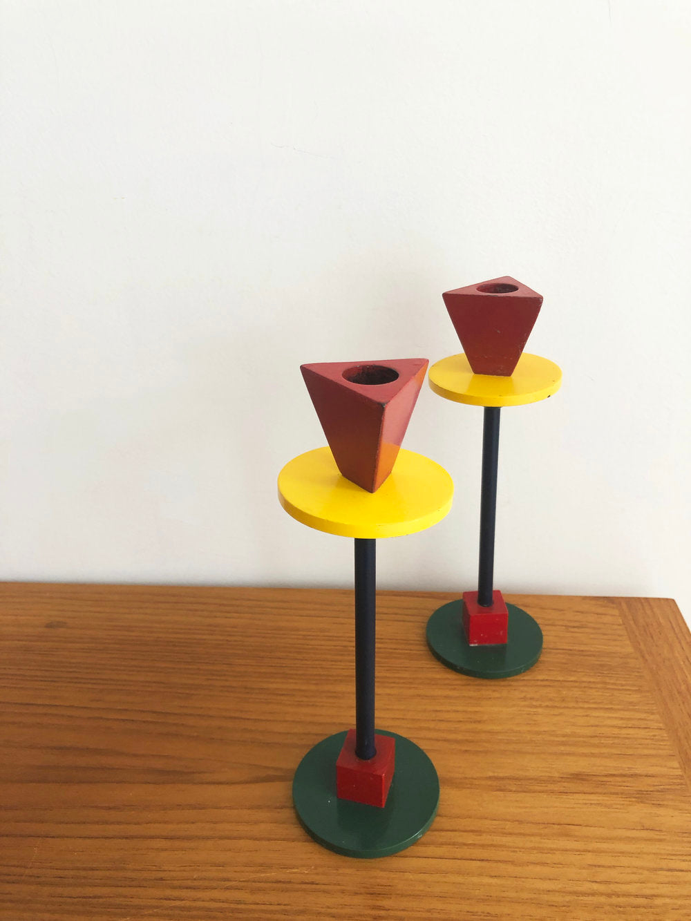 Vintage 1980s Metal Enameled Memphis Candle Sticks- Pair