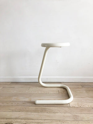 1971 White Metal Tubular Paper Clip Counter Stool by Kinetics
