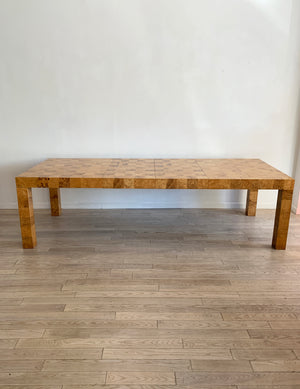 1970s Patchwork Olive Burl Wood Parsons Dining Table W/ Leaves