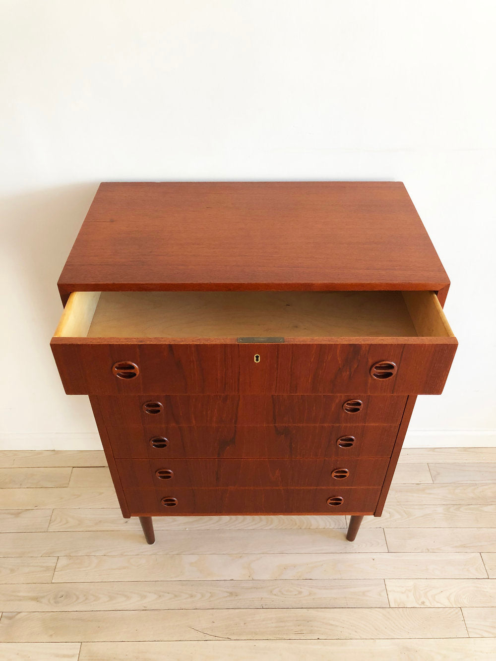 Mid Century Teak Tallboy Chest of Drawers Made in Denmark