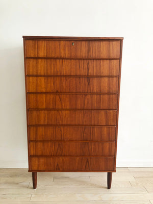 Mid Century Teak Danish Tall Tallboy 8-Drawer Dresser