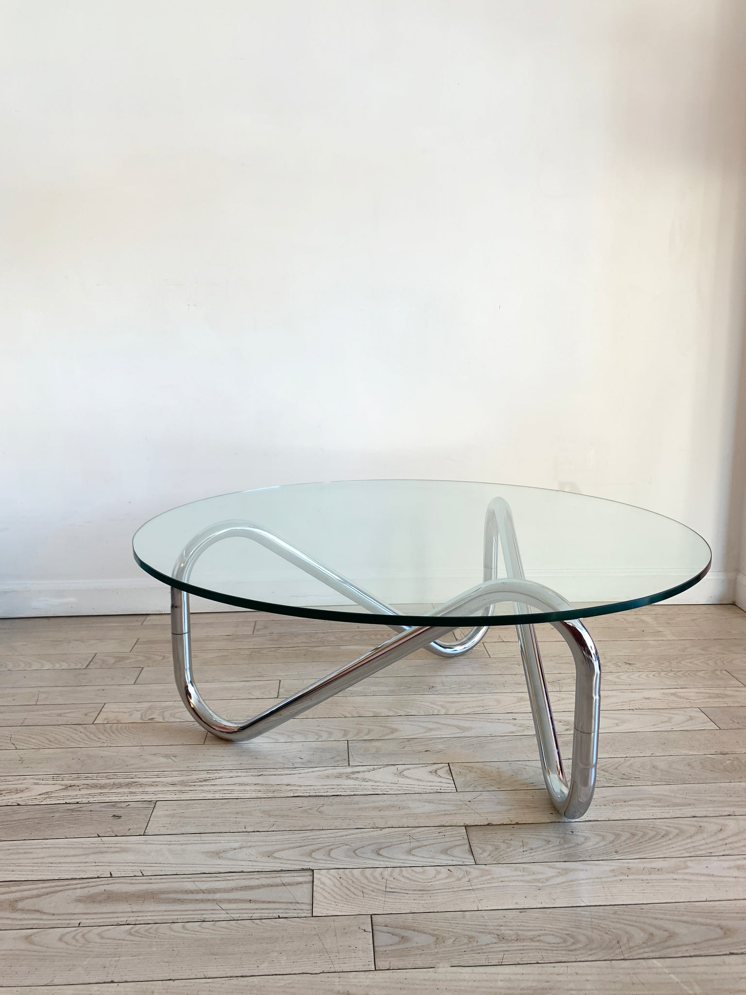 1970s Chrome Tangle Glass Top Coffee Table