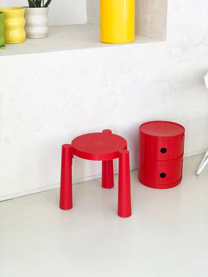 1987 Red Plastic Tavello Stool by Anna Castelli Ferrieri for Kartell