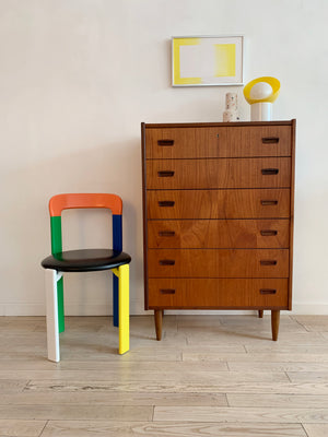 Mid Century Danish Teak 6-Drawer tallboy Dresser