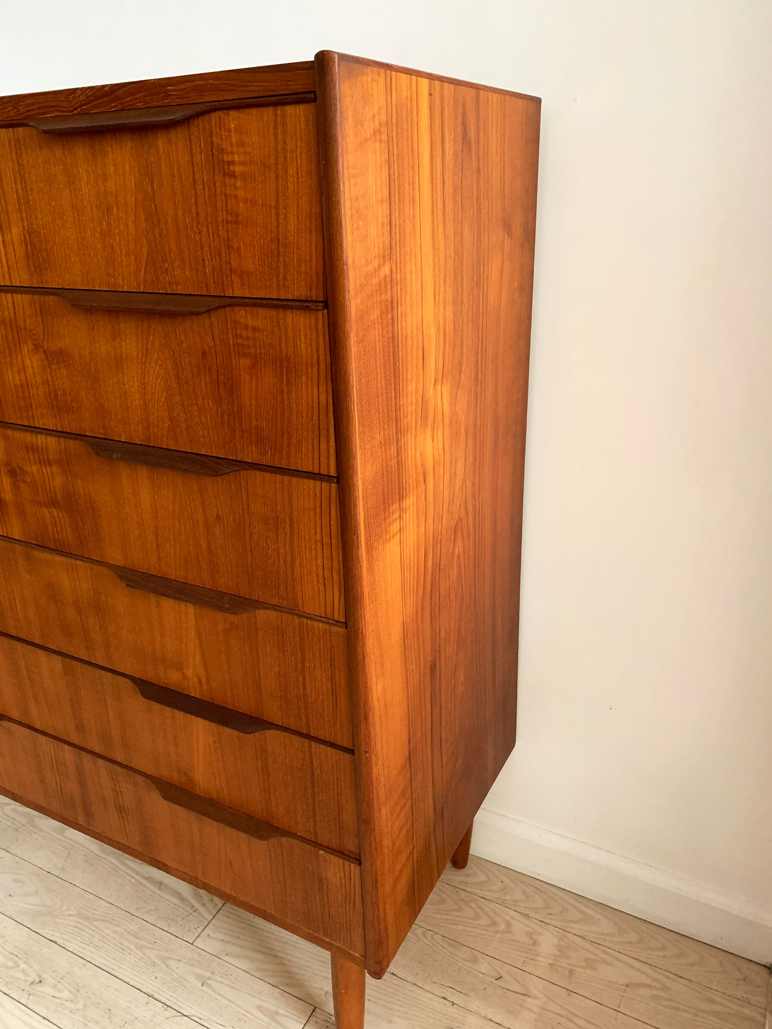 Mid Century Teak Tallboy Chest of Drawers, Denmark