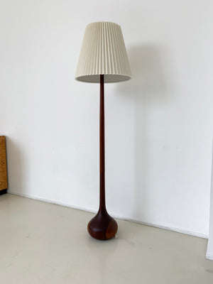 1960s Solid Teak Teardrop Floor Lamp