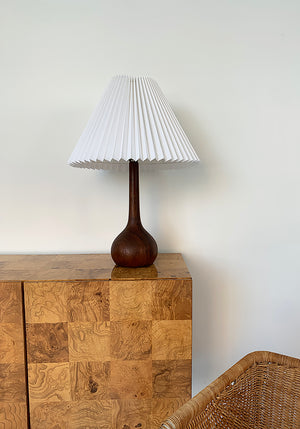 1960s Solid Teak Teardrop Pleated Shade Table Lamp