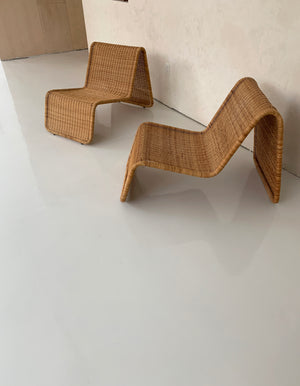 "Vintage Italian Wicker ""P3"" Lounger by Tito Agnoli for Piereantonio Bonacina"