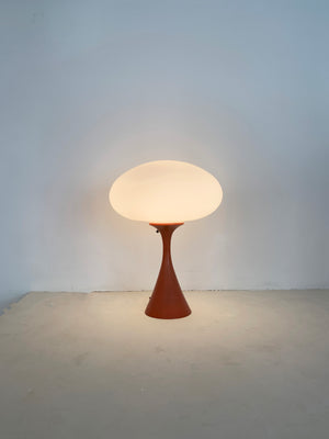 1960s Pale Orange Laurel Lamp with Frosted Glass Shade