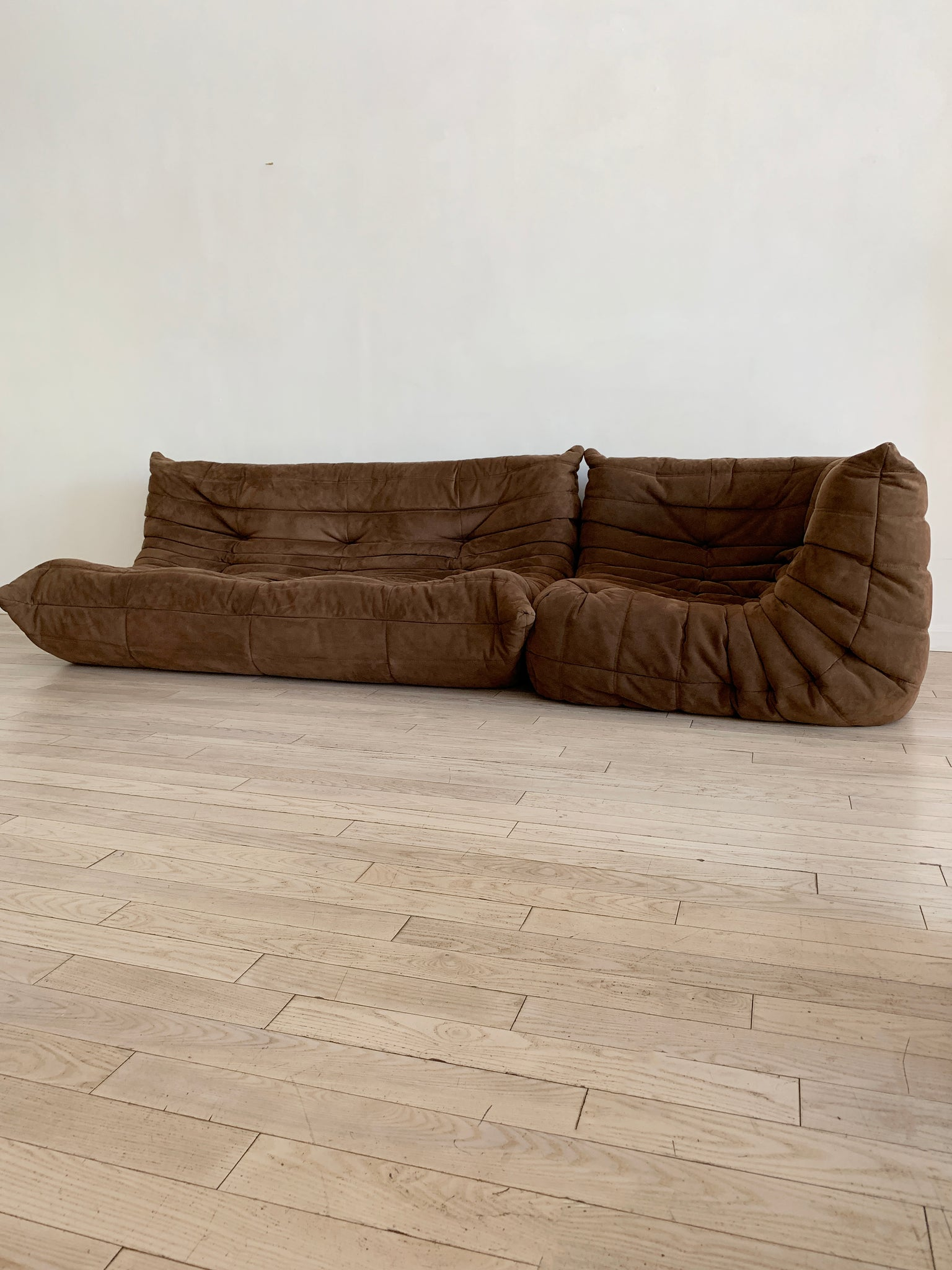 Vintage Brown Togo Sofa Set by Michel Ducaroy for Ligne Roset - 2 Pieces