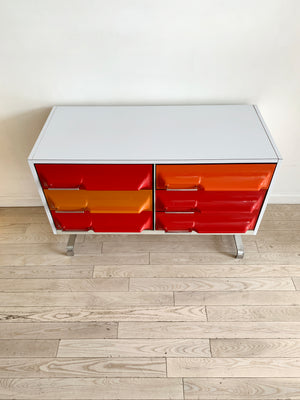 1970s Space Age Multi Colored Plastic Front 6-Drawer Credenza By Giovanni Maur
