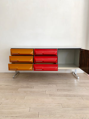 1970s Space Age Multi Colored + Rosewood Plastic Front Credenza By Giovanni Maur