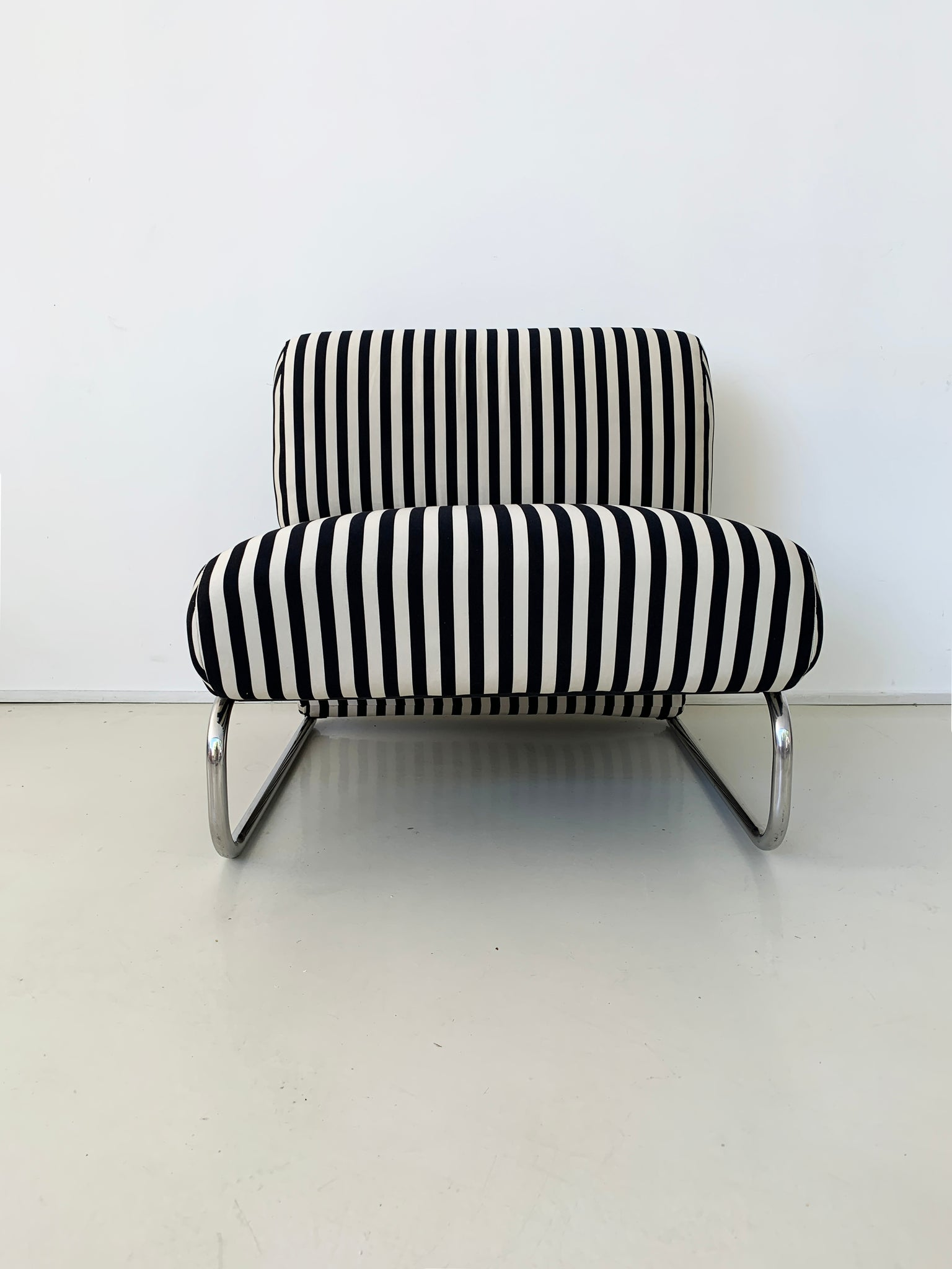 1970s Striped Edward Axel Roffman Tubular Chrome Chair