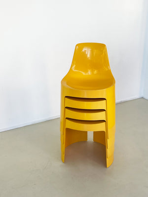 1970s Set of 4 Yellow Umbo Stacking Chairs by Kay LeRoy Ruggles