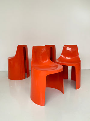 Set of 4 Orange Umbo Stacking Chairs by Kay LeRoy Ruggles