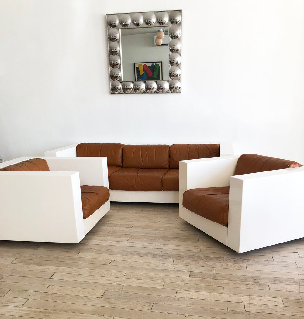 "Super Rare  1960s ""Saratoga"" Sofa + Club Chairs by Massimo Vignelli for Polronova"