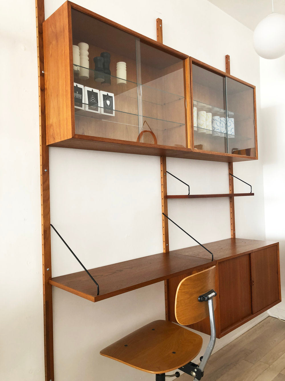 Mid Century Teak 2-Bay Paul Cadovius Wallunit Royal System