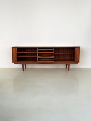1960s Bernhard Pedersen and Son Walnut Tambour Door Credenza Model 156